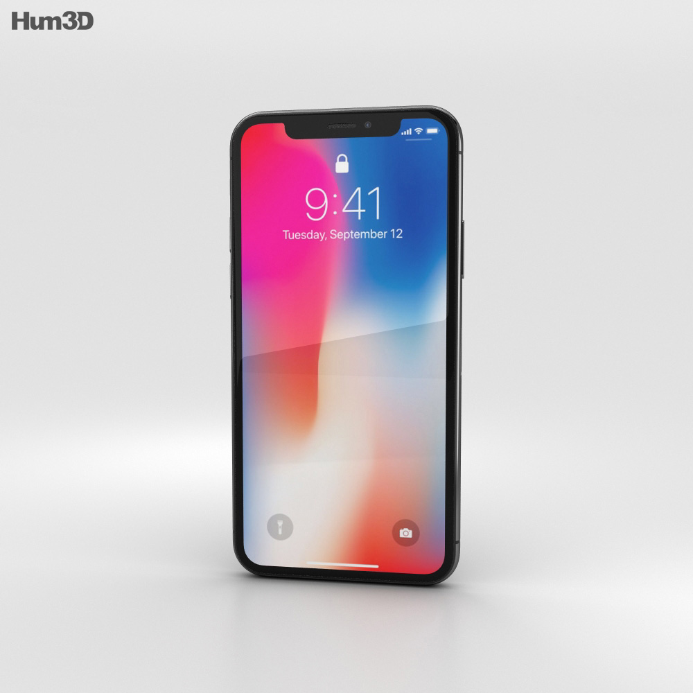 hight resolution of apple iphone x space gray 3d model