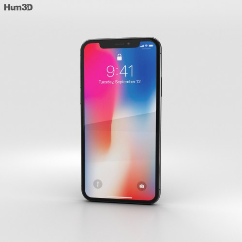small resolution of apple iphone x space gray 3d model