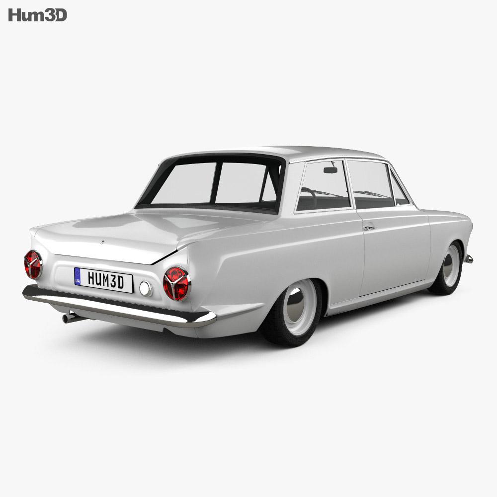 Ford Lotus Cortina Mk1 1963 3d model back view
