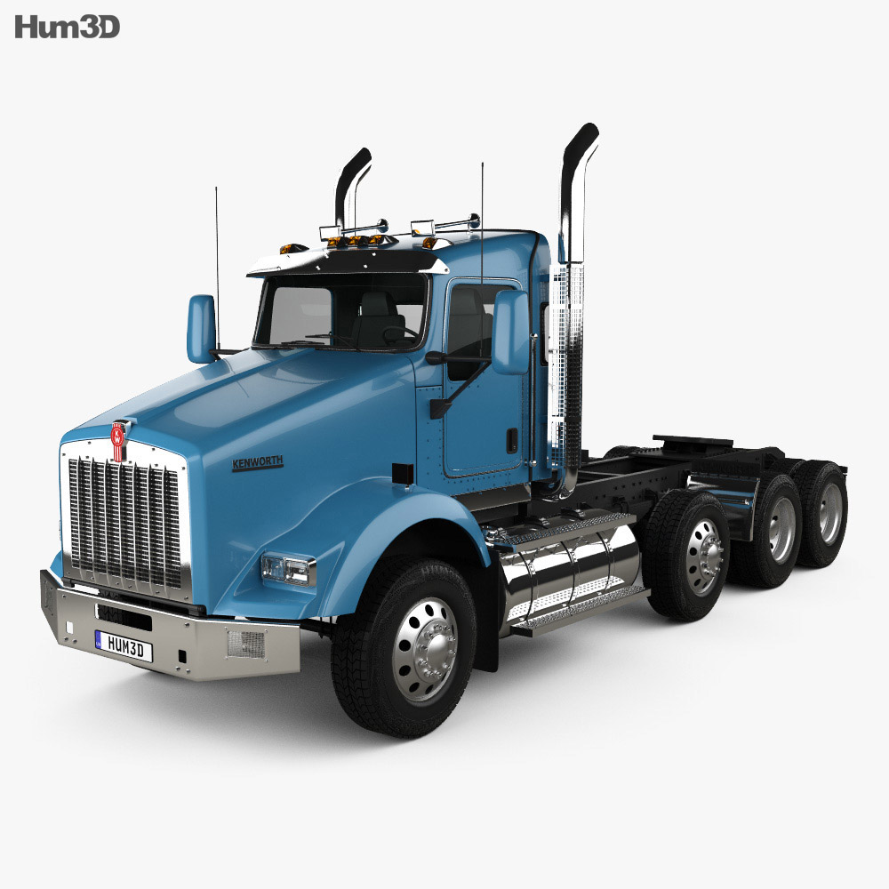 hight resolution of kenworth t800 chassis truck 4 axle 2005 3d model