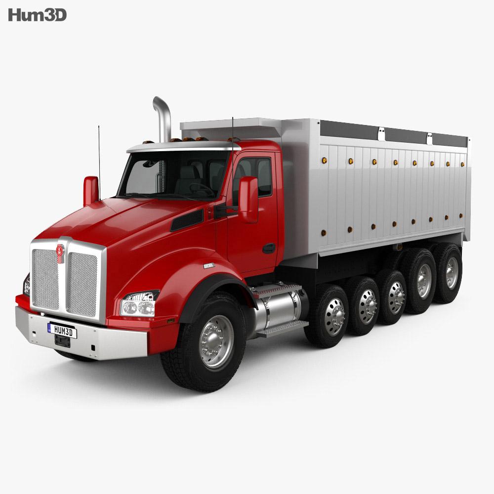 Kenworth T880 Dump Truck 6 Axle 3d Model
