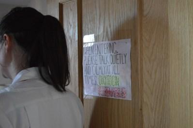 Door sign for a reminder to keep stress away