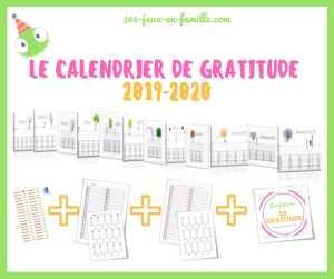 Le calendrier de gratitude 2019-2020