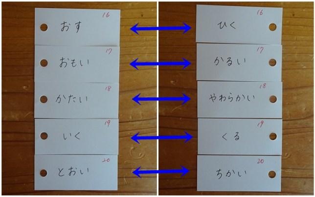 反対言葉の単語カード(6)
