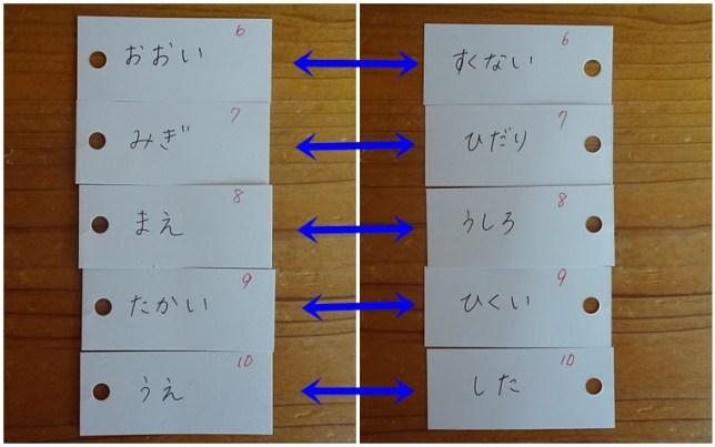 反対言葉の単語カード(4)