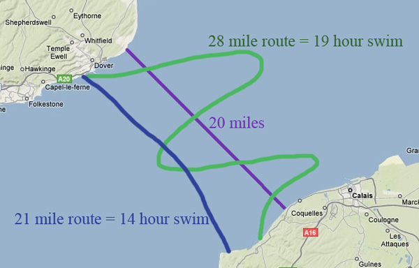 English Channel Swim Map