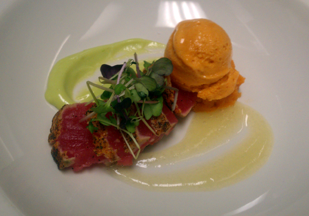 Post - Seared tuna, yuzu gel, wasabi aioli, carrot ice cream ...