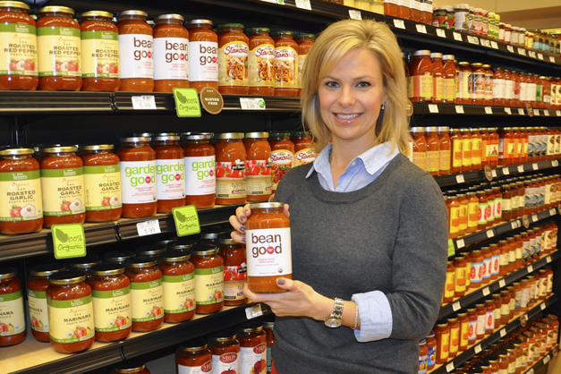 Jessica Grelle with her Mama Jess Favorite:  Mama Jess Bean Good Pasta Sauce at Heinen's Fine Foods