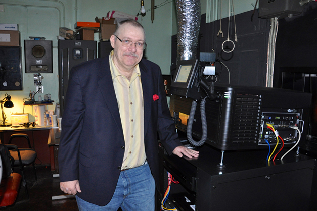 Catlow Owner, Tim O'Connor, in the Theater's Control Room