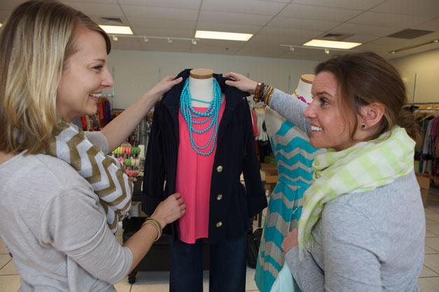 Marcy Sparr & Annie Lang Prepare LUXE wearhouse Displays - Photographed by Julie Linnekin