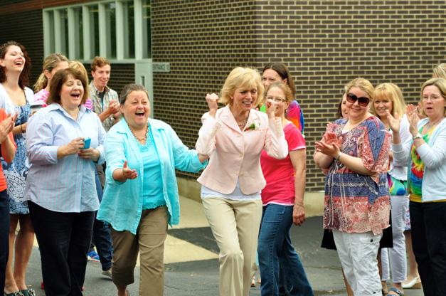 Hough Street School Teachers Celebrate Maggie's Retirement - Courtesy of Barrington 220 Schools