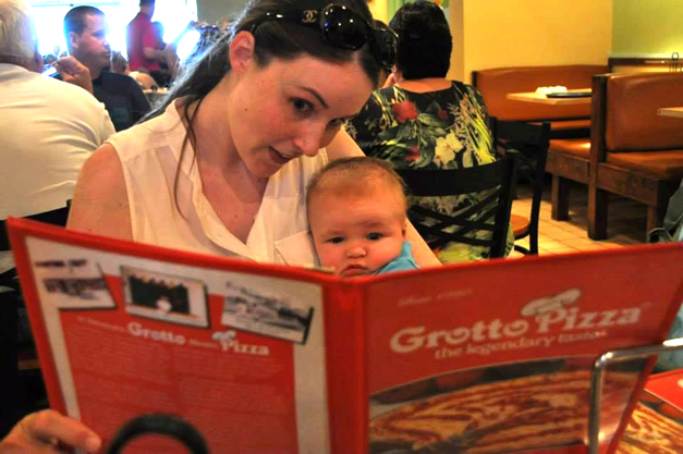 Librarian Becky Fyolek is teaching her young son how to read a menu at a very early age. Photo courtesy of Becky Fyolek.