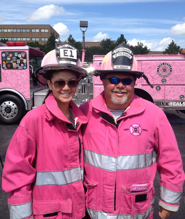 365BarringtonTV Reporter Catherine Goetze Reports from the Pink Heals Firetruck Tour at Advocate Good Shepherd Hospital