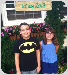 Jackson (5th) & Madison (3rd) on the 1st day of school 2013! - Submitted by mom, Diane