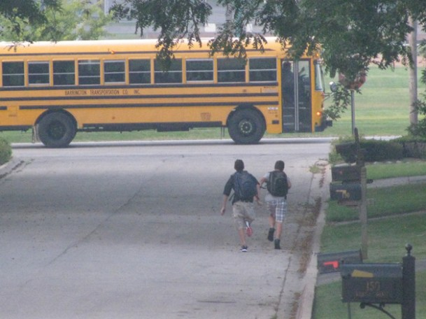 Nothing like running for the bus on your first day of High School!! - Submitted by mom, Laura
