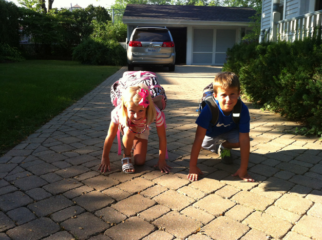 We live right next to Hough Street school and the kids had the idea to race over - Submitted by mom, Tatjana