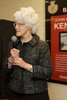Barrington resident and BHS alumna Joyce Taillon presents the JFK photos to BHS - Photographed by Julie Linnekin