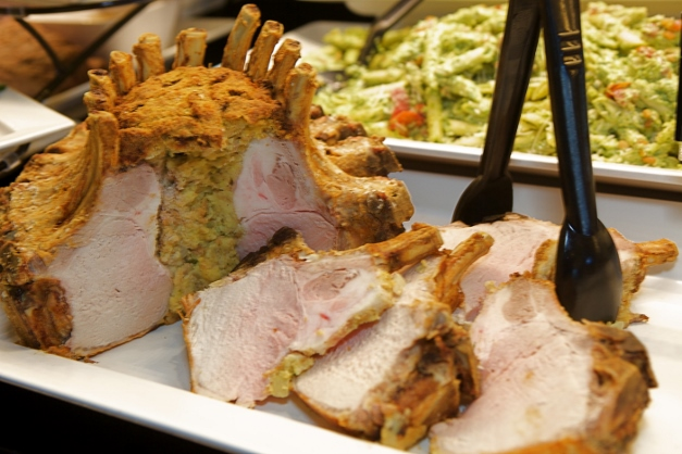 Heinen's pork crown roast stuffed with crouton dressing - Photographed by Julie Linnekin
