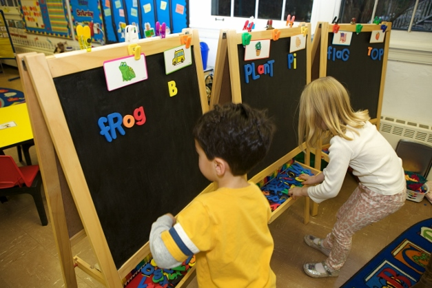 Building words at Learning Trek Academy - Photographed by Julie Linnekin
