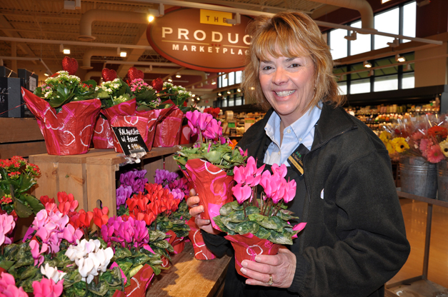 Mary Zickler with her Valentine's florals - Photographed by Liz Luby