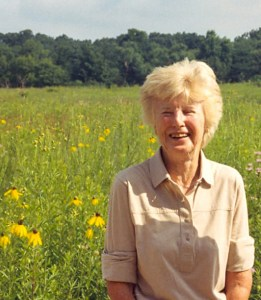 Peggy Grigsby Richards (1914-2012) in front of Grigsby Prairie, her family's legacy in Barrington Hills - Photograph courtesy of Diane Bodkin and Citizens for Conservation