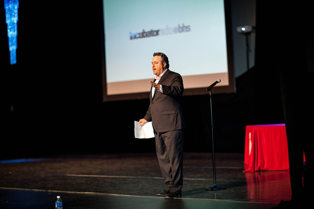 BHS Business Startup Incubator Teacher hagop Soulakian on Pitch Night - Photographed by Liz Benedetto