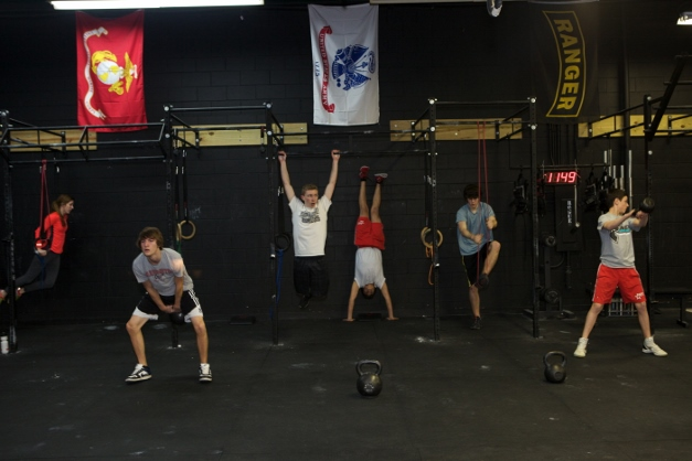 Teens conquer the Workout of the Day (WOD) Photograph courtesy of CrossFit Barrington