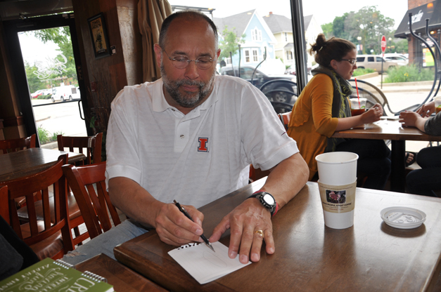 Doug McConnell Draws His Manhattan Island Swim at Cook Street Coffee