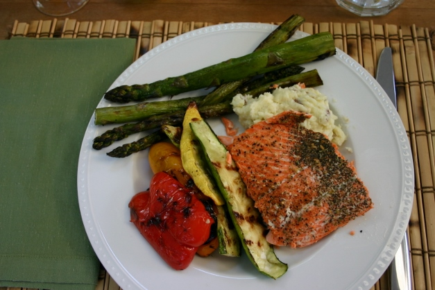 Copper River Salmon, grilled vegetables, and Parmesan smashed potatoes...delicious.