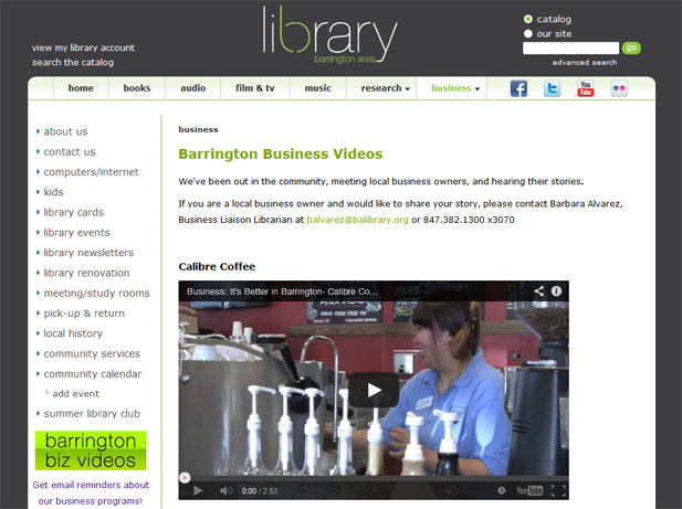 Screenshot of the Barrington Area Library website featuring short videos about local businesses. Currently featured is Calibre Coffee.