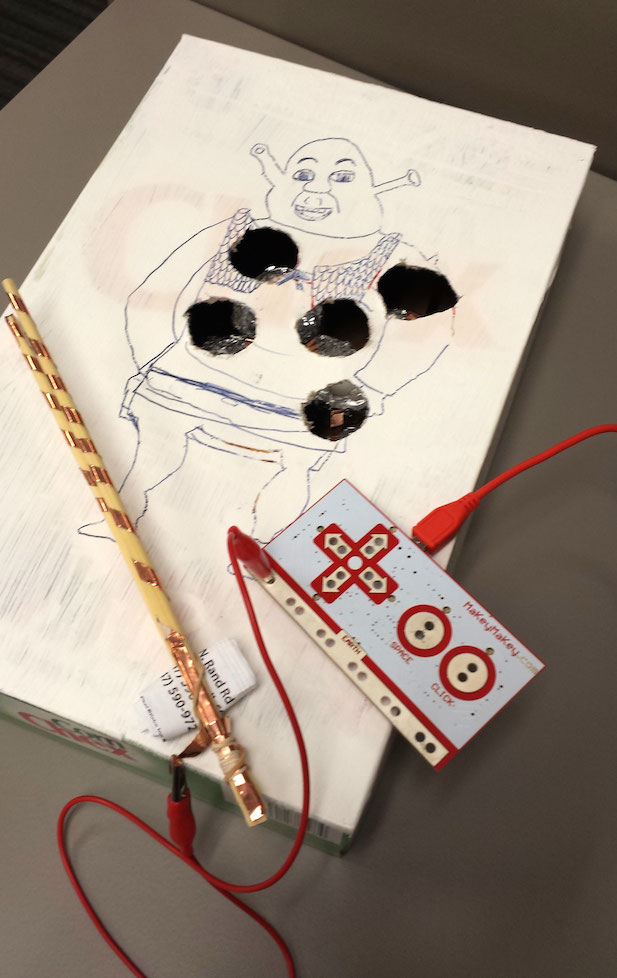 "During one Maker Camp session, students worked on making their own version of the old ""Operation"" game - BZZZZZZ!"