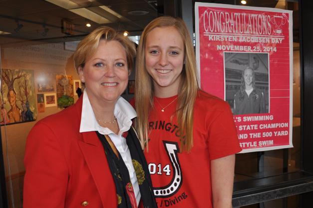 Kirsten Jacobsen with her mom, Patty, on Kirsten Jacobsen Day at Barrington High School