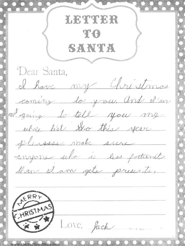 Letters to Santa from Kids in Barrington - December, 2014