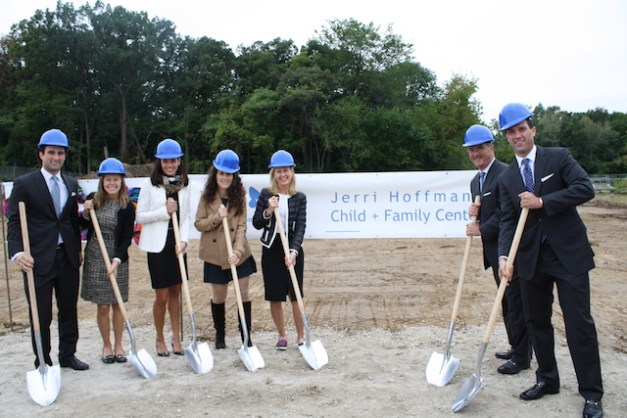 The Hoffmann Family at the Jerri Hoffmann Child + Family Center groundbreaking ceremony, L-R  The Hoffmann family at the groundbreaking ceremony: Greg Hoffmann, fiance Beth Radis, Megan Hoffmann, Alison Randall, Jerri Hoffmann, David Hoffmann, Geoff Hoffmann.