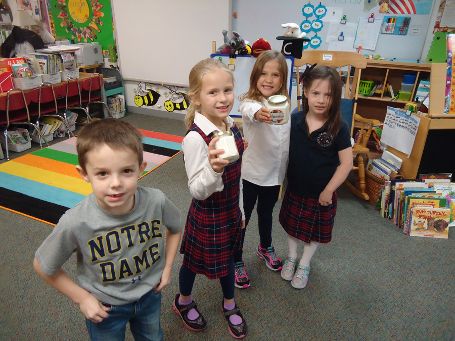 Saint Anne Parish School Kindergartners Making Butter for their Thanksgiving Feast