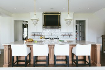 Open kitchen layout for elegant island entertaining