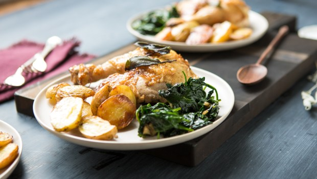 Crispy Chicken Thighs with Spinach and Potatoes