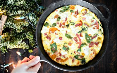 Cooking with Heinen's | Modern Farmette's Holiday Brunch with Spinach & Heirloom Tomato Frittata, Pomegranate Crostini and Christmas Star Bread