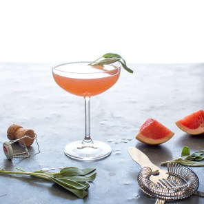 Grapefruit & Sage Champagne Cocktail - Table and Dish for Heinen's Grocery
