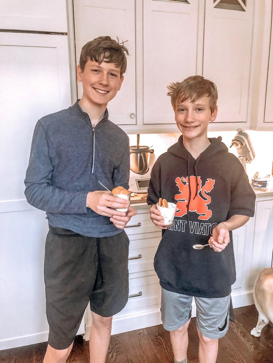 Always room for dessert – Evan and Aidan making Banana Pudding.