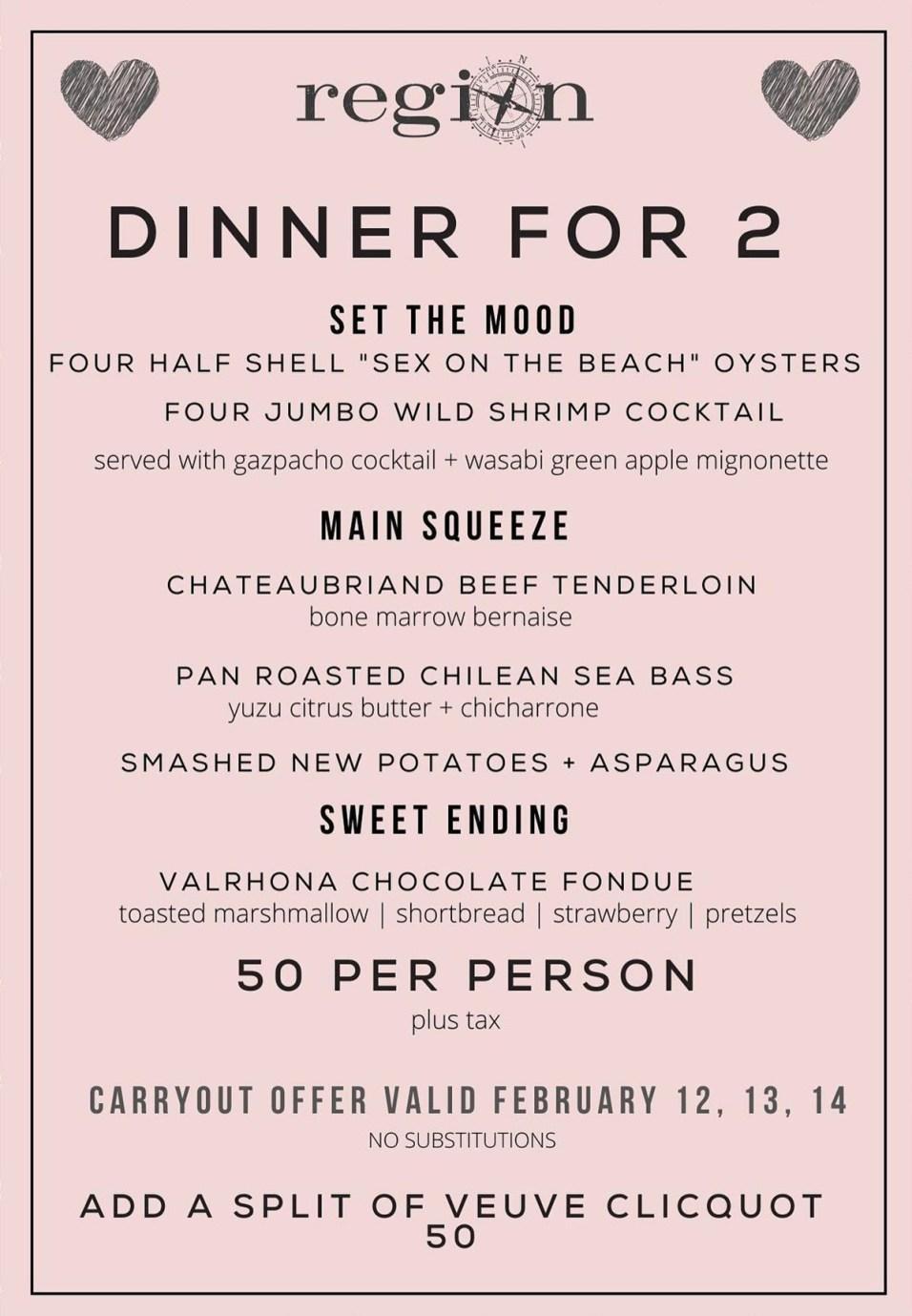 365 - Region Restaurant Valentine Menu