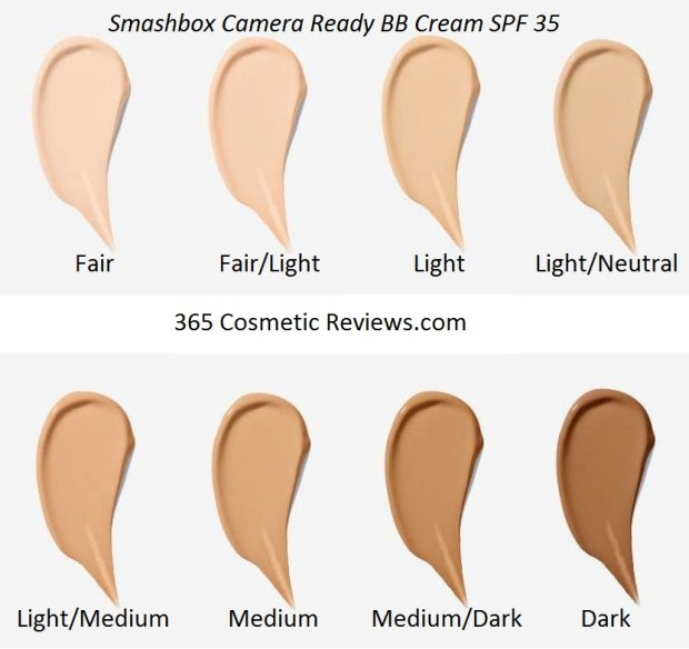 Smashbox Camera Ready BB Cream SPF 35 Color Swatch Chart