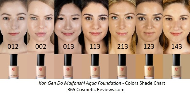 Koh Gen Do Maifanshi Aqua Foundation Color Shade Chart