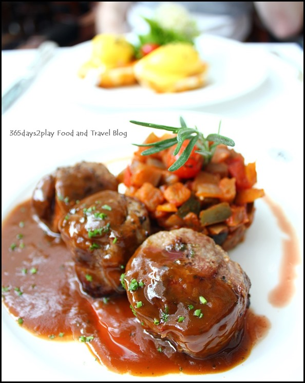 TWG - Saddle of Lamb seasoned with cumin, oregano and rosemary accompanied by a ratatouille drizzled with a rich brown sauce infused with Silver Moon Tea $28 (4)