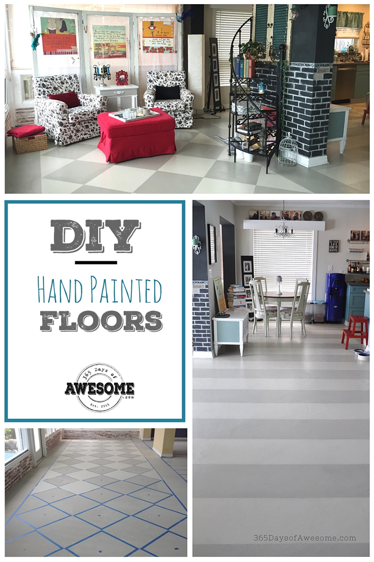 DIY Hand Painted Floors using Annie Sloan Chalk Paint: French Linen and Old White