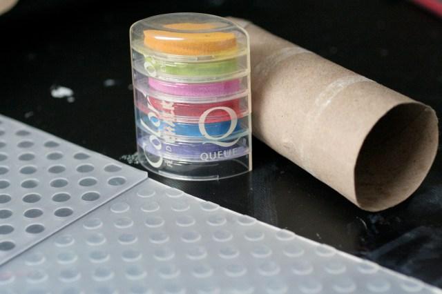Chalk ink, embossing folder, toilet paper rol