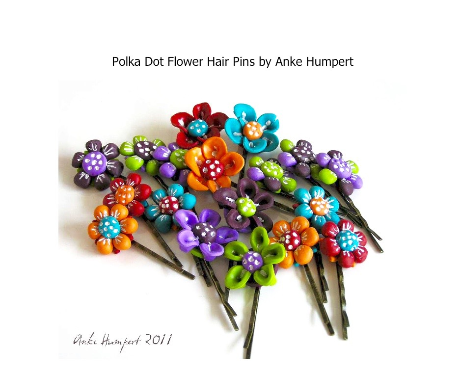 FREE Polymer Clay Tutorial- polka dot hair pin jewelry.