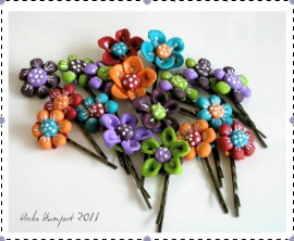 Whimsical Clay Hair Pins