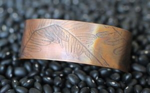 Fern Leaf Copper embossed cuff Bracelete