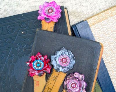 polymer clay flowers from mold to decorate vintage rulers